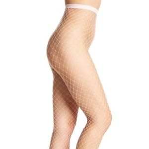 Free People Libby Fishnet Tights LAVENDER